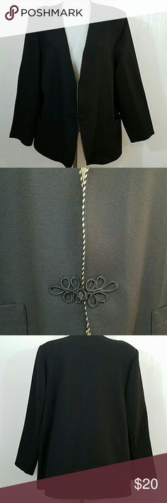 """Black with Gold Trim Cricket Lane Blazer Black with Gold Trim Cricket Lane Blazer  ??Size 16 ?? Condition Excellent  ?? No Stains ?? No Rips or Tears ?? Send me an Offer Prices are negotiable  ??Ships same day no later than the next day! ??Message me with any questions  ?? Bust 48"""" ??Length 30"""" Cricket Lane  Jackets & Coats Blazers"""
