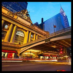 Grand Central Terminal by dibrova. Grand Central along Street at dusk, New York City York Hotels, Nyc Hotels, New York Attractions, Ville New York, Travel Trolleys, 42nd Street, Terminal, Vacation Deals, Winter Travel