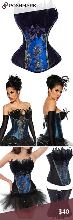 """N Great for a peacock Halloween costume, burlesque or even cute just with a pair of jeans! Such an adorable corset!  Real feathers frame the bodice and gold beading highlights the peacock theme of the corset.  Plastic boning can cinch your waist to an hourglass silhouette!Large fits bust 36""""-38"""", (36C), waist 28""""-30 and hips 38""""-40"""".  XL fits bust 37""""-39"""", waist 30""""-32"""" and hips 40""""-42"""". New with tags!  Intimates & Sleepwear Shapewear"""