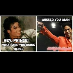 RIP: MJ and Prince                                                                                                                                                                                 More Prince Michael Jackson, Michael Jackson Funny, Funny Celebrity Memes, Black Memes, Kind Person, King Of Music, All The Things Meme, Cute Memes, Photos