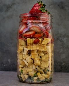 mint banana & strawberry smoothie Strawberry Banana Smoothie, Raw Food Recipes, Oatmeal, Mint, Jar, Breakfast, Instagram Posts, Peppermint, Rolled Oats