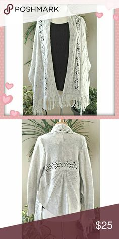 "Abstract Crochet cardigan. Details: 85% acrilic, 15% wool, the shortest length, from armpit to hem 10"". Sweaters Cardigans"
