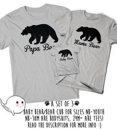 fbdd829b Papa Bear Mama Bear Shirt T-Shirts Baby Bear Matching T Shirt Tee Daddy Mommy  Mom Baby Present Baby Shower Papi Pregnancy Announcement