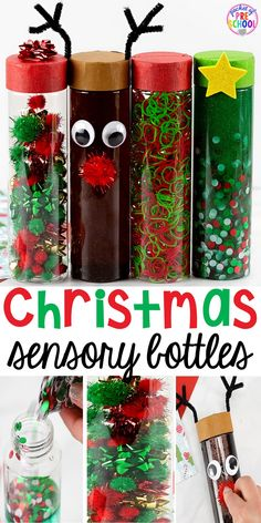 Christmas Sensory Bottles - Pocket of Preschool Christmas sensory bottles - so much fun and so calming for preschool, pre-k, and toddlers! Put in the safe place for the holidays. Preschool Christmas, Christmas Crafts For Kids, Christmas Activities, Christmas Art, Preschool Crafts, Christmas Themes, Diy Crafts For Kids, Holiday Crafts, Christmas Ideas For Toddlers