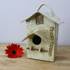 Love Shack Ceramic Birdhouse with Handle- Patterned White Handmade Clay House- Whimsical Garden Art- Earthy Art Pottery- Home Decor