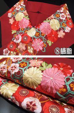 半衿 振袖 刺繍 日本製 菊に松 半襟 金茶 抹茶 臙脂 紫 黒 金 k769r