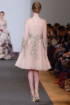 Dany Atrache | Spring 2016 Couture | 08 Pink lace embellished off shoulder mini dress (back)