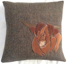 Harris Tweed  Highland Cow Patchwork Cushion by TallaTweed on Etsy