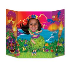 HULA GIRL Beach Tropical PHOTO PROP Ocean Luau  Birthday Party Decoration #Beistle