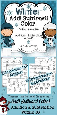 20 winter-themed printables for young children working on strategies and fluency for addition and subtraction facts within 10.  Themes include Winter and Christmas.  So cute!  Just print and play!