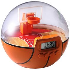 Basket Ball Game Alarm Clock - get the steel ball into the basket or the consistent cheering alarm will never shut off!  Also a game to play $29.99