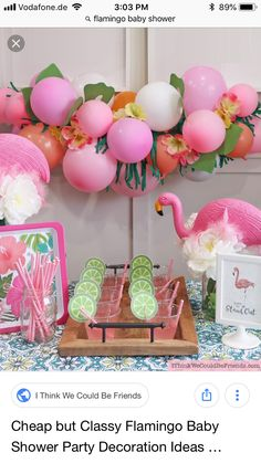 A Flamingo Themed Baby Shower Party that didn't break the bank! Tropical balloon garland, flamingo cupcake toppers & centerpieces all with Dollar Tree items! Flamingo Cupcakes, Pink Flamingo Party, Flamingo Baby Shower, Flamingo Birthday, Shower Party, Baby Shower Parties, Bridal Shower, Shower Favors, Diy Shower