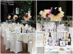 Rent tall pilsner vases and fill with DIY large paper flowers for wedding centerpiece