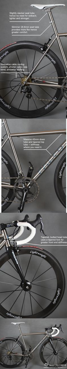 BB is the weakness for many ti frames(Moots included), but we designed 45mm diameter downtube + BB386/PF30 bottom bracket. And we tested that torsional stiffness is 2.78 times that of a 32mm down tube (traditional 3/2.5 titanium alloy), and 2.12 times stronger than 35mm…………..SIZE DOES MATTER (LoL) (For more comfort, the stock Falco Eleonora will use a traditional seatpost, which can be carbon and adds to the comfort.)