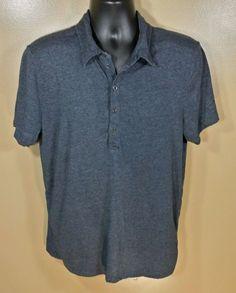 Armani Exchange Gray SS Button Front Casual Shirt Cotton Blend Sz L…