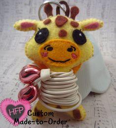Ear Bud Holder Giraffe Ear Bud Kawaii Giraffe by HeartFeltPlush