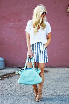 Blue & White Stripe Skirt #KatalinaGirl #blogger