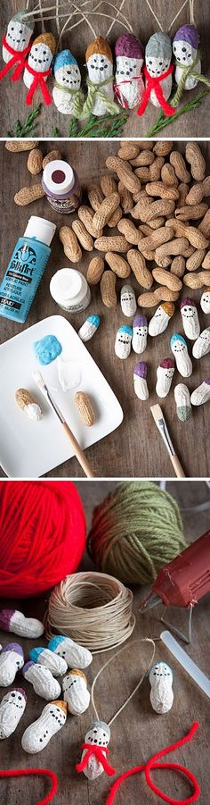Peanut Snowmen | Click Pic for 23 DIY Christmas Ornaments for Kids to Make | DIY Christmas Crafts for Kids to Make
