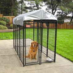 Perfect for Jackson's garage kennel... but I wouldn't need the roof cover.  Uptown Welded Wire Box Kennel - Black with Gray Cover (6'Hx4'Wx8'L)