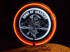 SOA Sons of Anarchy Neon Clock ~ Official SOA Double Neon Clock ~ w Reaper Logo