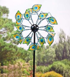 Glass Peacock Solar Wind Spinner | Decorative Garden Accents