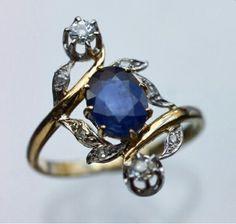 Belle époque,  saphire & diamonds ring. 1910.