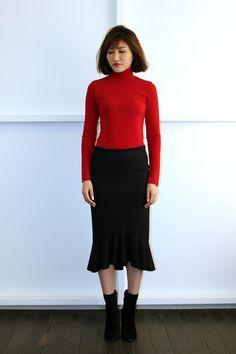 Andrea Yasmin-Flounce Pencil Skirt AW16 Pencil, High Neck Dress, Skirts, Dresses, Fashion, Turtleneck Dress, Vestidos, Moda, Skirt