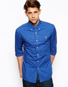 Blå Polo Ralph Lauren Poplin Slim Fit skjorter - ModeJagten