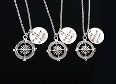3 best friend necklaces, three best friends, no matter where charm, compass necklace, Christmas gift, bff necklace friendship gift xmas gift by RobertaValle on Etsy