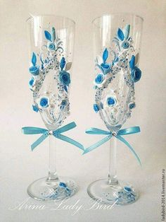 Wedding Champagne Flutes, Wedding Bottles, Champagne Glasses, Bridal Wine Glasses, Wedding Glasses, Wine Glass Candle Holder, Henna Candles, Flute Glasses, Nice Glasses