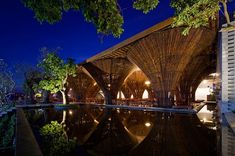 Kontum Indochine Café is designed as a part of a hotel complex along Dakbla River in Kontum City, Middle Vietnam. Adjacent to Dakbla Bridge, a. Bamboo Architecture, Modern Architecture Design, Luz Natural, Zaha Hadid, Bamboo Structure, Indochine, Open Air, Pavilion, Building Design