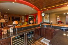 Traditional Bar with High ceiling & Built-in bookshelf in Ankeny, IA   Zillow Digs