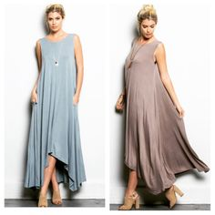 Mocha Sleeveless Cascading Maxi Pocket Dress NWOT