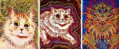 A series of paintings of cats by Louis Wain from the early 1900's. They capture a slow descent into varying levels of schizophrenic episodes.