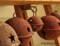 Pails of Paint: How to Make Rusty Christmas Bells.without Rust. Rustic Christmas Ornaments, Burlap Christmas, Primitive Christmas, Christmas Bells, Country Christmas, All Things Christmas, Christmas Decorations, Christmas 2017, Christmas Projects