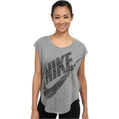 Nike Signal Tee Women's T Shirt, Gray ($31) ❤ liked on Polyvore featuring tops, t-shirts, grey, grey tee, short sleeve tops, nike tees, moisture wicking t shirts i logo t shirts