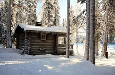 The perfect place to warm up and relax after playing in the great outdoors: a traditional Finnish sauna. Just steps from this cabin, there is a hole Cabins And Cottages, Log Cabins, Small Cabins, Finnish Sauna, Off Grid Cabin, Cabin In The Woods, Winter Cabin, Cabin Homes, Log Homes