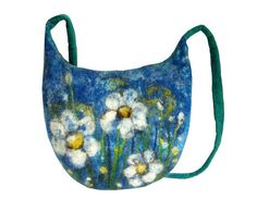 Felted bag floral felt handbag wool  flower by MarlenaRakoczy, $85.00