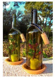Outdoor wine bottle lighting