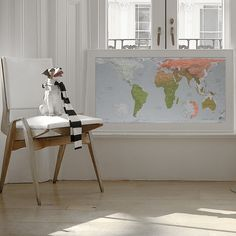 World Map Khaki/Coral/Gold, Framed | ACHICA