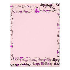happy birthday flyer templates letter head pink with purple splashes girly happy birthdays letterhead birthday