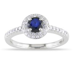 Miadora 14k Gold Sapphire and 1/4ct TDW Diamond Ring