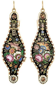 Front and back: Antique Gold and Enamel Lorgnette. Decorated on both sides with a floral motif of multicolored enamel, edged by alternating red and white enamel half-circles bordered by gold, the sides of the handle applied with a similar motif, opening Enamel Jewelry, Jewelry Box, Jewelry Accessories, Fine Jewelry, Ladies Accessories, Jewlery, Victorian Jewelry, Antique Jewelry, Vintage Jewelry