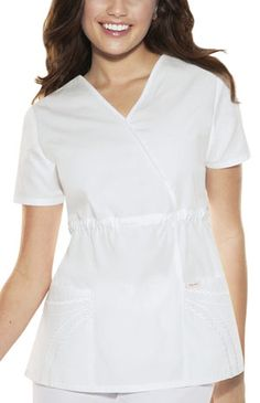 nursing whites for graduation. counting down the days! Baby Phat Scrubs, Top P, Scrub Tops, Nurses, Poplin, Chains, Dresses For Work, Tunic Tops, Pockets