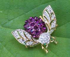 Vintage Rhinestone Crystal Bee Brooch Pin - Insect Fly Bug