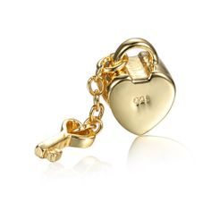Golden Love Key Dangle Charm 925 Sterling Silver Pandora Compatible