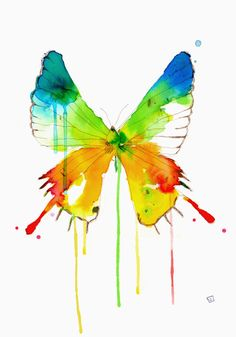 Water Color Illustration by Conrad Roset. -- Love the colorful watercolor butterfly. Butterfly Watercolor, Butterfly Art, Watercolor Animals, Watercolor Paintings, Watercolors, Butterflies, Butterfly Colors, Rainbow Butterfly, Butterfly Painting