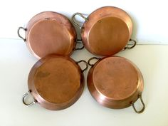 Set 4 Ramakins Copper cookware bakeware by NewEnglandReflection