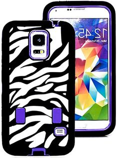 """myLife Three Layer Shockproof """"Built In Screen Protector"""" Security Armor Case for Galaxy S5 by Samsung {Purple, Black and White with Zebra Stripes """"Protective Tuff Shell Design"""" Hybrid Triple Piece BOX Protector Shield with Rubberized Gel} myLife Brand Products http://www.amazon.com/dp/B00QR045XU/ref=cm_sw_r_pi_dp_zN-Xub16ECWES"""