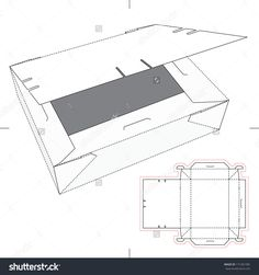 Box With Flop Lid And Blueprint Layout Stock Vector Illustration 171281285 : Shutterstock